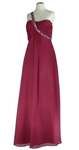 Samtlebe® - One-Shoulder Chiffon Bustier Abendkleid lang MJ9560 in Fuchsia Gr. 34-48 Fuchsia
