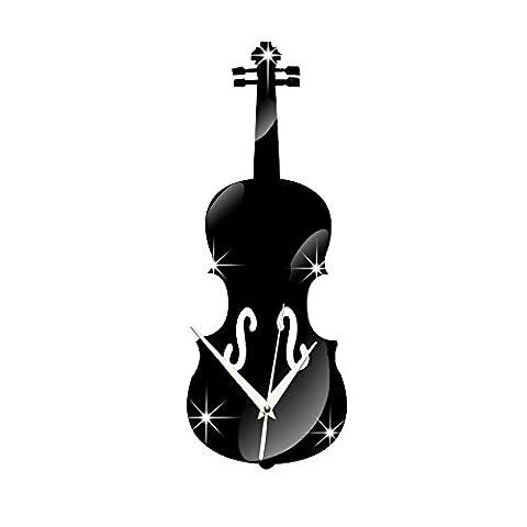 Dekorative sticker LFNRR Wanduhren Wanduhr Hinweis Violine Spiegel WC1261, Schwarz