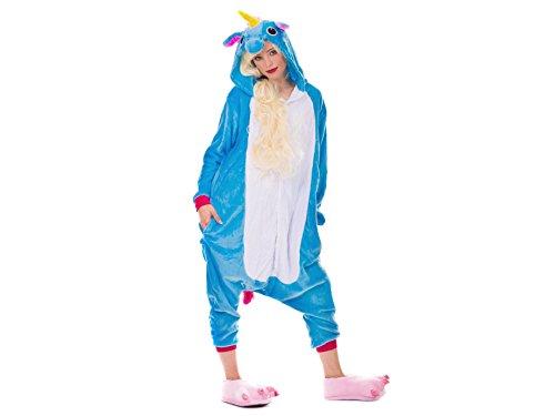 üm Jumpsuit Erwachsene Unisex Tier Cosplay Halloween Fasching Karneval Plüsch Schlafanzug Tierkostüme Anzug Flanell, L,Blau (Tween Tier Kostüme)