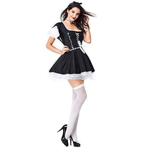 FMN-SEXY, Frauen Sexy Französisch Maid Kostüm Plus Größe Erwachsene Laides Diener Cosplay Kleid Festival Französisch Maid Kellnerin Dress Up Uniform (Size : - Französisch Maid Kostüm Plus Größe
