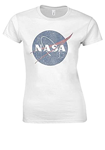 Nasa National Space Administration Logo Vintage White Women T Shirt Top-M