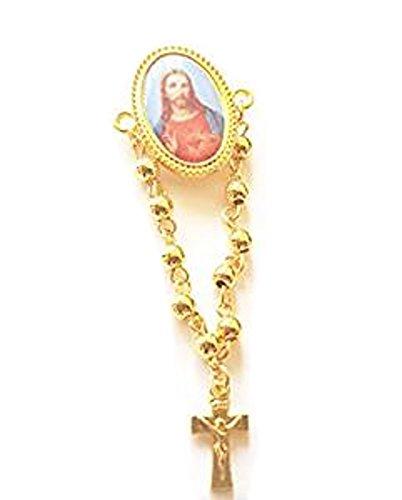 St. Antonius von Padua, Our Lady of Grace Rosenkranz, Our Lady of Guadalupe Rosenkranz Anstecknadel, Herz-Jesu Faux Perlen Kruzifix Brosche Anstecknadel gold