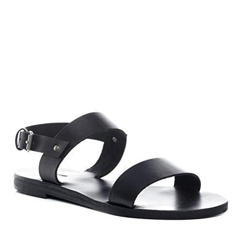 Baccini® sandalo vera pelle ava 40 eu sandali di pelle sandali per donne donna cuoio nero