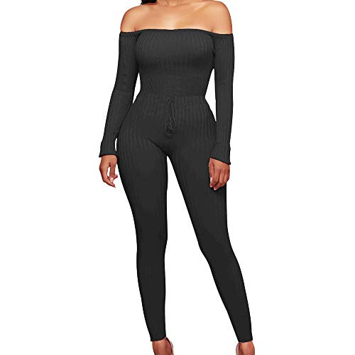 Yoga-set Jacke (FORH Damen Mode Set Outfits langarm Streifen Crop Top Trägerlos T-shirt Reizvolle Bodycon Paket Hüfte Hosen Beiläufig Outfit Sport bekleidung Sexy aus Schulter Jumpsuit)