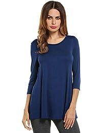 b7412ec6c6526b HOTOUCH Damen Langarmshirt Hemd Slim Fit Freizeit Abgerundeter Saum Bluse  Shirt Oberteil Navy Blue S