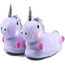 0dbf07bff5d2d Lovelysi Chaussons Licorne LED 3D Chaussons Femme Homme Fille Garçon Petite  Amie Pantoufle Hiver Peluche Unicorn