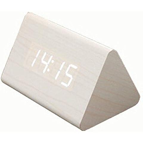 Botetrade Nuevo Moda Moderno Triangolo imitaci¨®n de madera USB/AA Digital LED Alarm Clock Calendar Reloj de escritorio digital de voz Control Reloj Despertador