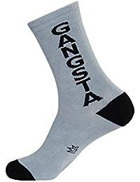 Gumball Poodle Gangsta Vertical Mens Gray Crew Socks
