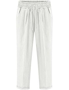 Hellomiko Pantalones capri de lino de algodón 3/4 para mujer con bolsillos, pantalones elásticos recortados M-6XL