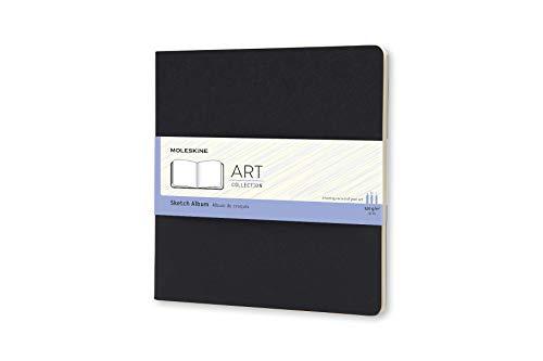 Moleskine Art Collection Skizzen-/ Zeichenbuch (mit Hardcover, Papier geeignet für Stifte, Bleistifte, Holzkohle, Quadratisches Format 19 x 19 cm, 88 Seiten) schwarz