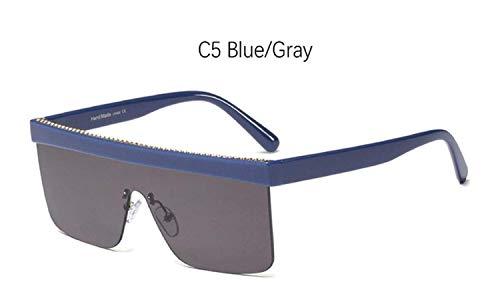 CNSP Brillen,Vintage Sonnenbrillen,Black Big sunglasses man Vintage Retro Flat Top Square Half frame sun glasses for women mirror Designer shades for women,C5 Blue Gray