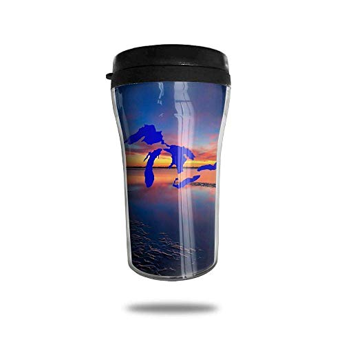 Mug Stainless Steel Michigan The Great Lakes State Travel Tumbler Small Travel Mug Sport Bottle Cup 8.5 Oz Unisex3