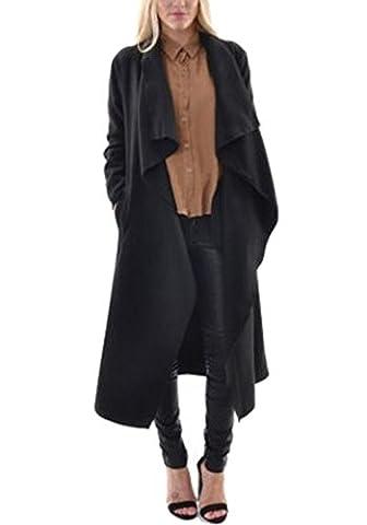 Minetom Femme Printemps Automne Manteau Cardigan Décontractée Manches Longues Couleur Unie Trench Coat Parka Oversize Veste Blouson Outwear Noir FR 42