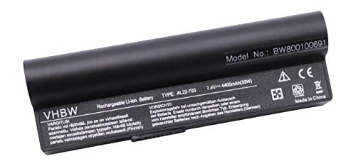 vhbw Akku 4400mAh (7.4V) schwarz black für SUBNOTEBOOK NOTEBOOK LAPTOP NETBOOK ASUS EEEPC EEE-PC 900HA, 900HD, 900 HA HD ersetzt AL22-703.