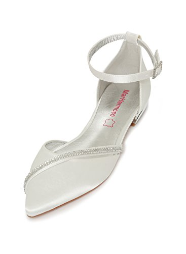 Marhermoso scarpe matrimonio donna satin strass cinghie punta chiusa tacco basso bellerine da sposa