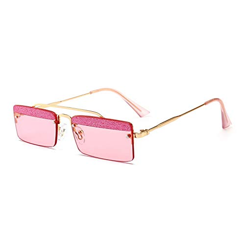 MJDABAOFA Sonnenbrillen,Kleines Quadrat Retro Sonnenbrillen Für Frauen Gold Frame Pink Linse Two-Tone Shining Gradient Objektiv Sonnenbrillen Für Männer