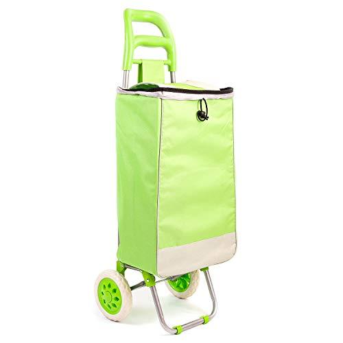 Faltbarer Einkaufstrolley Handwagen/Einkaufswagen mit Zugband und großen Rädern/Stabile und Faltbare Einkaufstasche Grün