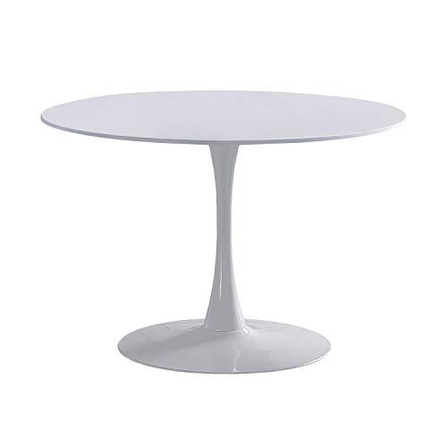 Adec - Gina, Mesa Redonda de Comedor, Salon, Cocina o Auxiliar, Acabado en Lacado Blanco, Medidas: 75 cm (Alto) x 110 cm (diámetro)