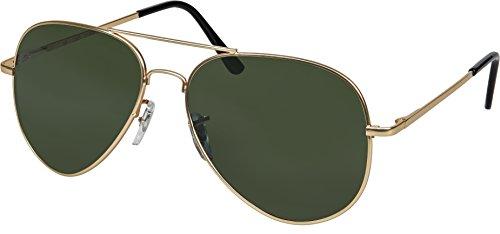 Balinco Hochwertige Pilotenbrille Sonnenbrille 70er Jahre Herren & Damen Sunglasses Fliegerbrille verspiegelt (Gold/Matt-Smoke Green)