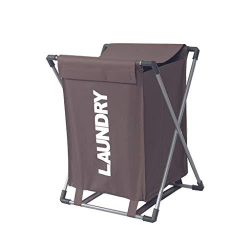 HXYL Wäschekorb Faltbar Wasserdicht Wäschesack Wäschesortierer Mit Deckel Brown Cremeweiß (45 * 38 * 55cm) (Farbe : Brown)
