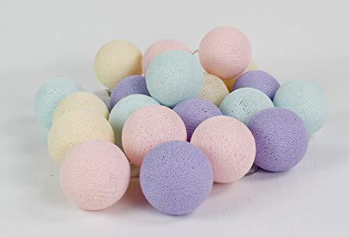 Cotton Ball Lights Pastel 50, coton, blanc/rose clair de Shell de protection Light Aqua