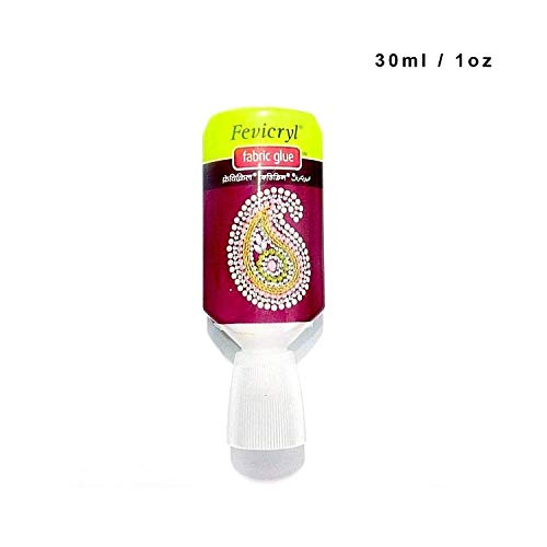 World of Sparkles Fevicryl Textilkleber für Acryl-Strasssteine, für Kleidung und Schuhe, selbstklebend, maschinenwaschbar, Weiß - 30 ml
