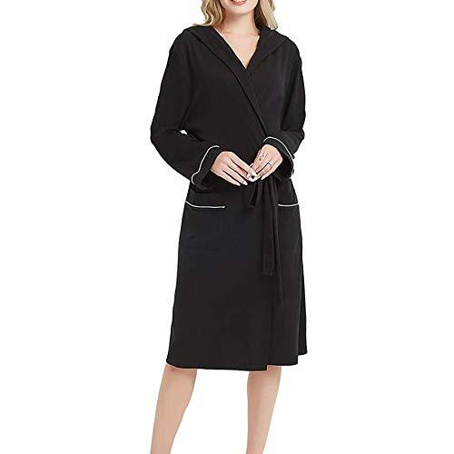 AFUPO Albornoz Mujer Pijama de algodón para Mujer otoño Pijama de algodón de Color Liso camisón...