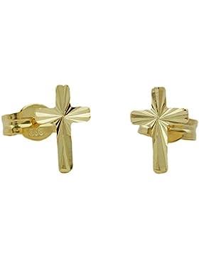 Damen Herren 1 Paar Stecker Ohrstecker Kreuz glänzend diamantiert aus 585er Gold