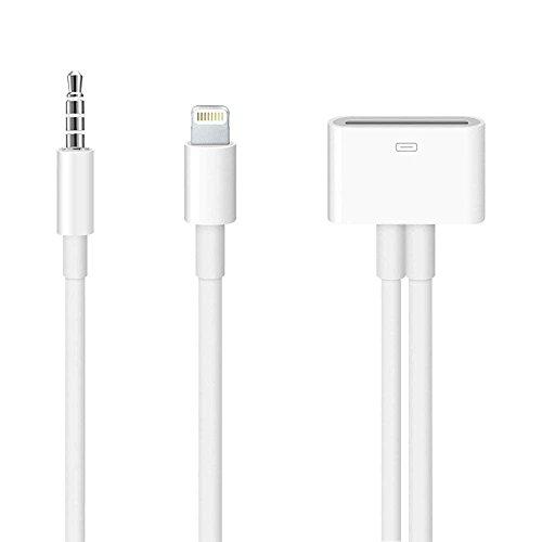 CLICK2U Adaptador convertidor de Cable de Audio de 30 Pines a 8 Pines y AUX 3,5 mm para iPhone SE 5 5S 5C 6 6S 6Plus 6S Plus iPad 4 Mini 2 3 4 Pro Air 2 iPod Touch Nano – Blanco