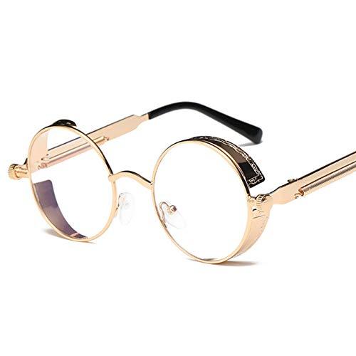 Yangjing-hl Klassische Sonnenbrille runde Persönlichkeit reflektierende Brille Sonnenbrille Männer und Frauen Brille Silberrahmen eisblau Tabletten
