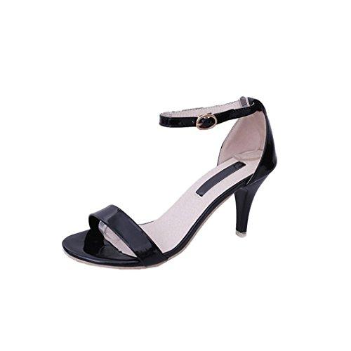 MOIKA Damen Sandals, Mode Frauen Damen Sommer Schnalle Sandalen High Heels  Block Party Offene Spitze Schuhe(EU37,Schwarz 7903ec61e9