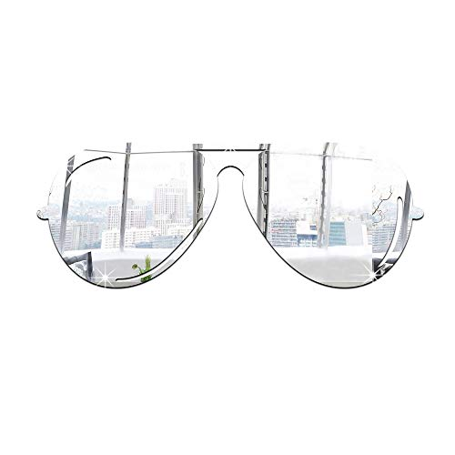 Zhangcaiyun Acryl Spiegelfolie 3D Acryl Moderne Spiegel Wandaufkleber Sonnenbrille Kunst DIY Wandtattoo Home Raumdekoration Spiegel Einstellung Wandaufkleber (Farbe : Silber)