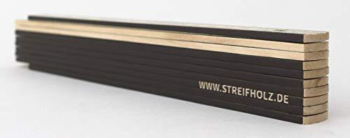 Zollstock aus Holz mit Winkelfunktion, Meterstab mit Plan Skala & 90° Rastung, im STREIFHOLZ DESIGN