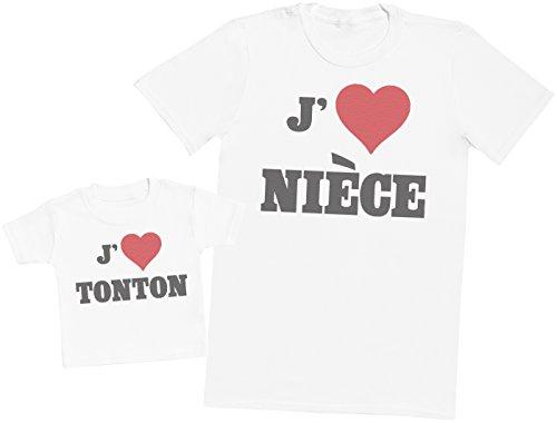 Zarlivia Clothing Love Nièce Love Tonton - Ensemble Tonton Bébé Cadeau - Hommes T-Shirt & T-Shirt bébé - Blanc - XL & 3-6 Mois