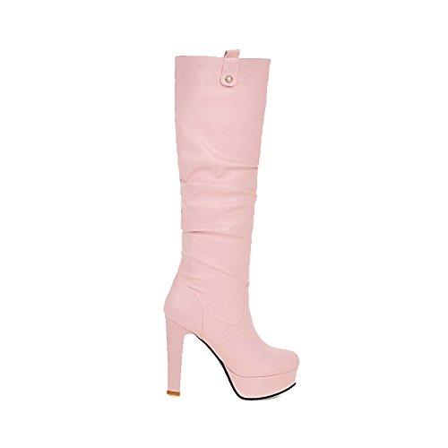 AllhqFashion Damen Hoch-Spitze Ziehen auf Hoher Absatz Rund Zehe Stiefel mit Anhänger, Pink, 35
