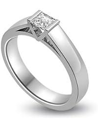 0,20 quilates H/SI1 Anillo solitario de compromiso de diamante para mujer con Princesa diamantes en 18k Oro blanco