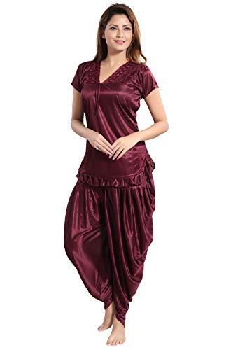Romaisa Satin Night Suit, Top with Patiyala (Size : Free) Alice Brown