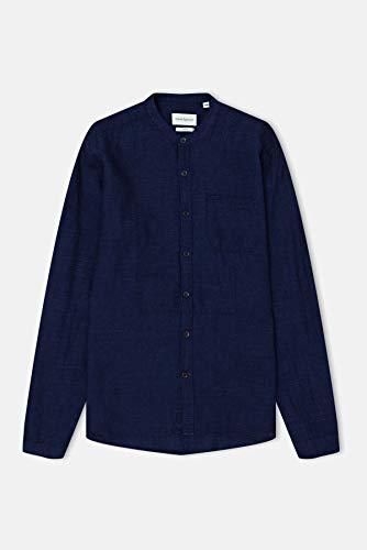 Oliver Spencer Bib Grandad Shirt Collar 15 inch Rockwell Indigo Rinse Indigo Bib