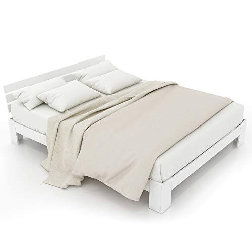 LENTIA Holzbett Bett aus Kiefernholz Massivholzbett Starkes Ehebett Stilvolles Palettenbett Buchebett 210 x 144 x 67,5 cm (Weiß)