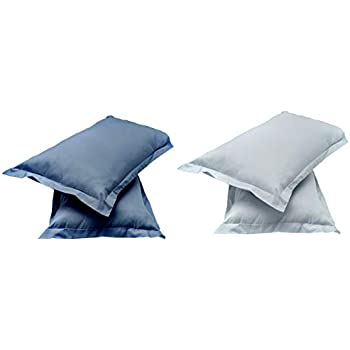 "Amazon Brand - Solimo Solid 144 TC 100% Cotton 2 Piece Pillow Covers, 18""x 27"", Navy(Not Pillow) Blu & Solid 144 TC 100% Cotton 2 Piece Pillow Covers(Not Pillow), 18""x 27"", Ash Grey Combo"