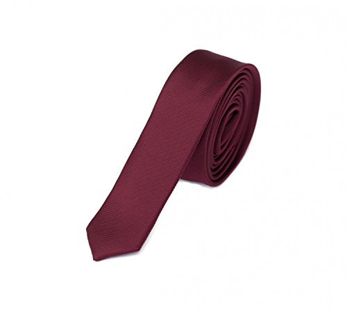 Fabio Farini Krawatte 3cm rot weinrot unifarben, einfarbig, Schlips, Binder, schmale Krawatten