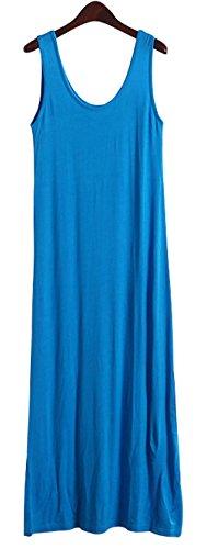 Wenseny Damen Ärmellos Modal Riemen Kleid Maxi Kleid Blau