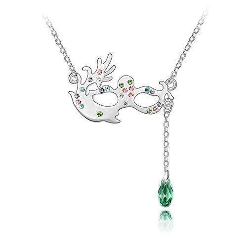 NSXLSCL Halsketten Für Frauen,Mode Maskerade Maske Form Quaste Anhänger Grüne Kristall Halskette, Für Damen Party Kleid Zubehör