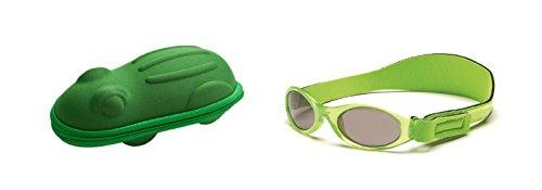 Lunettes de soleil BabyBanz- Bébé 0 à 24 mois , Vert, et un étui lunettes de soleil Yoccoes - en forme de Grenouille Vert