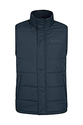 Mountain Warehouse Penzance Men's Padded Gilet - Waterproof Shell, Warm Microfiber Filling with Storm Flap & Two Zipped Side Pockets - Ideal for Layering Up Outfit Navy