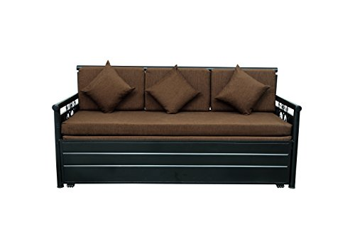 Swastik Furniture 3 Seater Single Size Metal Sofa Cum Bed with Hydraulic Storage (Black)
