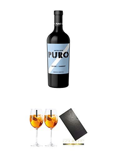 Dieter Meier Puro MALBEC CABERNET Rotwein Argentinien 1,50 Liter Magnum + Scavi & Ray Wein Glas 2 Stück + Buffet-Platte Servierplatte (ohne Griffe) Schieferplatte aus Schiefer 60 x 30 cm schwarz