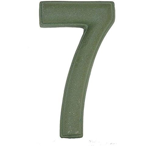 Numero Civico 7 Ceramica In Gres - Colore Verde Smeraldo Naturale cm11x6 h1,5