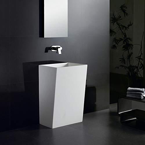Lux-aqua freistehendes Waschbecken Stand-Waschtisch Säule Mineralguss Weiß Matt 45182, 520 x 420 x 810 mm