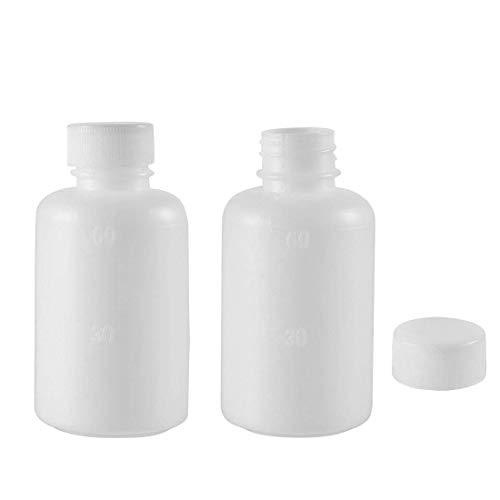 ZCHXD Plastic Lab Chemical Reagent Bottle 60ml/2oz Small Mouth Sample Sealing Liquid Storage Container 2pcs (2 Oz Liquid Container)